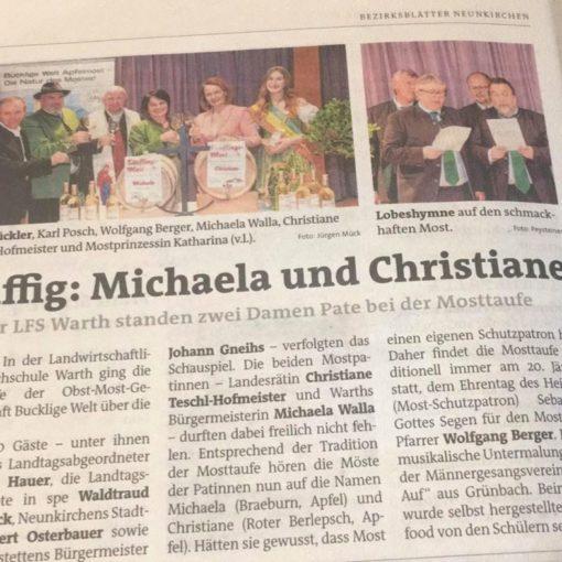 Bezirksblätter - Mosttaufe 2020