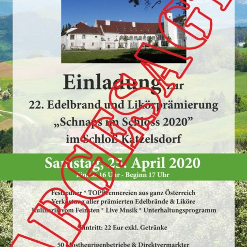 """ABGESAGT: Einladung zu """"Schnaps im Schloss"""" 2020"""